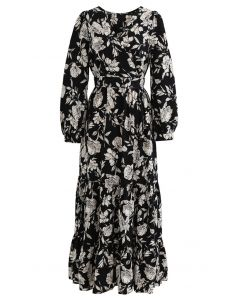 Floral Print Wrap Ruffle Maxi Dress in Black