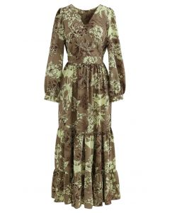 Floral Land Wrap Ruffle Maxi Dress in Tan