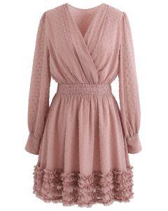 V-Neck Flock Dots Ruffle Chiffon Dress