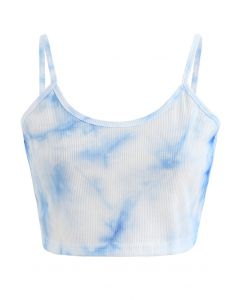 Tie-Dye Crop Tank Top in Blue