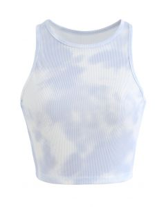 Pastel Tie-Dye Halter Tank Top in Light Blue