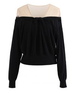 Mesh Shoulder Drape Neck Knit Sweater in Black