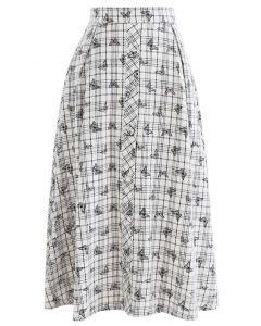 Butterfly Print Plaid Button Down Midi Skirt