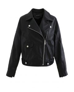 Crop Faux Leather Moto Jacket in Black