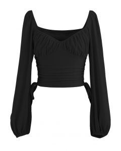 Side Drawstring Sweetheart Neck Crop Top in Black
