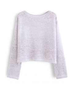 Variegated Open Knit Sweater in Lavender
