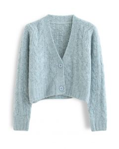 V-Neck Fuzzy Knit Crop Cardigan in Mint