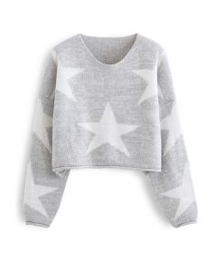 Star Pattern Cropped Roll-Hem Sweater