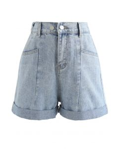 Patched Pockets High-Waist Denim Shorts