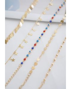 5 Packs Leaf Star and Beads Chain Bracelets