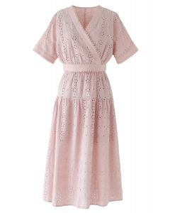 Eyelet Embroidery Batwing Sleeves Crop Top and Skirt Set in Peach
