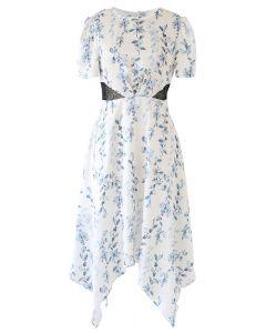 Watercolor Vines Printed Satin Asymmetric Dress