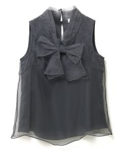 Bowknot Sleeveless Organza Top in Smoke