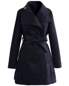 Urban Chic Belted Woolen Coat in Navy