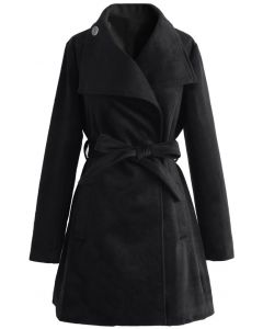 Urban Chic Belted Woolen Coat in Black