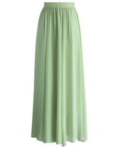 Light Green Long Maxi Skirt