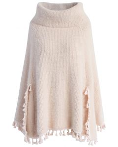 Winter Tale Knitted Cape in Pink