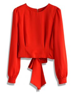 Tie a Bow Cropped Top in Red