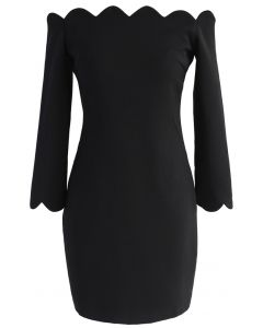 The Era of Your Charm Off-shoulder Shift Dress in Black