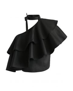 Ritzy One-shoulder Ruffled Crop Top in Black