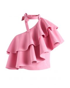 Ritzy One-shoulder Ruffled Crop Top in Pink