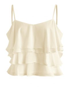 Tiered Animation Chiffon Cold-shoulder Top in Beige
