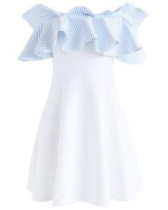 Nifty Breeze Off-shoulder Dress in Blue Stripe