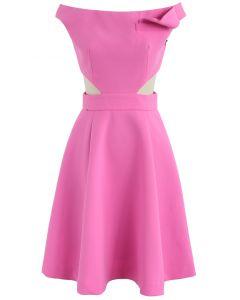 Keep on Dancing Off-Shoulder Dress in Rouge Pink