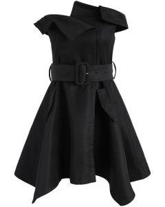 Asymmetric Beauty Off-Shoulder Dress in Black