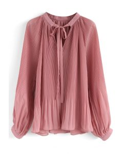 Winsome Look Pleated Chiffon Top in Pink