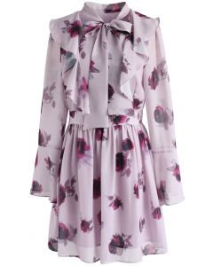 Reddish Rose Ruffle Chiffon Dress with Bell Sleeves