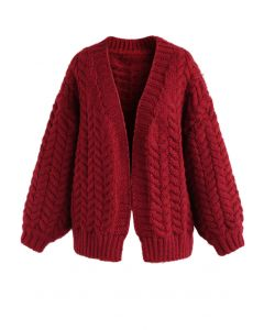 Nice to Knit You Chunky Cardigan in Red