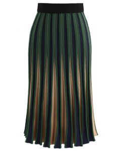 Radiating Stripes Knitted A-line Skirt in Green