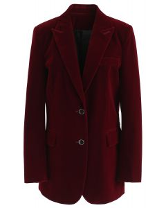 Noble Chic Velvet Blazer in Wine