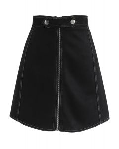 Chic Move Faux Suede A-Line Skirt in Black