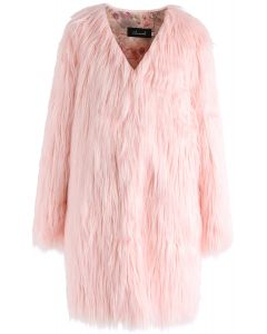 My Chic Faux Fur Longline Coat in Pink