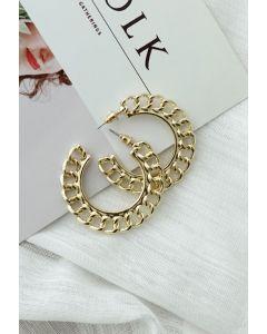 Gold Chain Circle Earrings