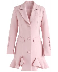 Classy Vogue Peplum Coat Dress in Pink