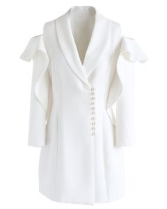 Shining Pearls V-Neck Cold-Shoulder Coat Dress in White