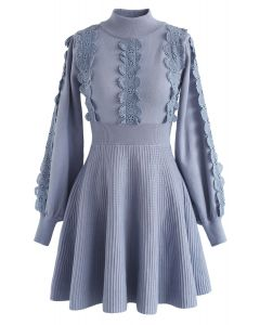 Amiable Attraction Crochet A-Lined Knit Dress in Dusty Blue
