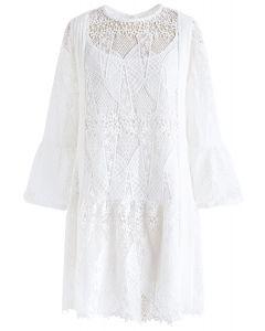 Crochet Nature Bell Sleeves Dress in White