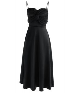 Silkiness Sweetheart Cami Dress in Black