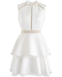 Show Your Elegance Eyelet Sleeveless Dress in White