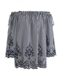 Dual Bowknot Stripes Embroidered Off-Shoulder Top in Navy