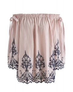 Dual Bowknot Stripes Embroidered Off-Shoulder Top in Pink