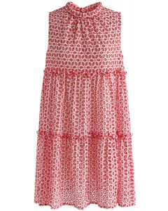 Eyelet Scintilla Embroidered Sleeveless Dress in Red