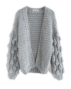 Cuteness on Sleeves Chunky Cardigan in Grey