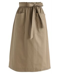 Better in Time A-Line Pockets Skirt in Tan