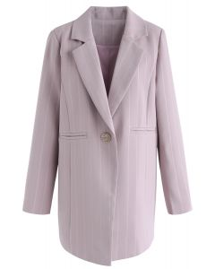 Get Closer to You Stripes Frontline Blazer in Pink