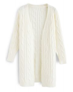 Warmest Hug Cable Knit Longline Cardigan in Ivory